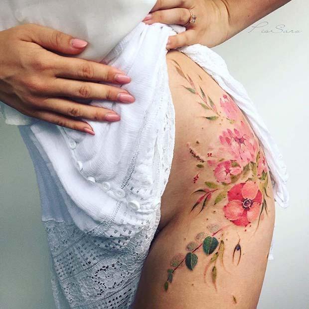 Watercolor Flower Hip Tattoo Idea
