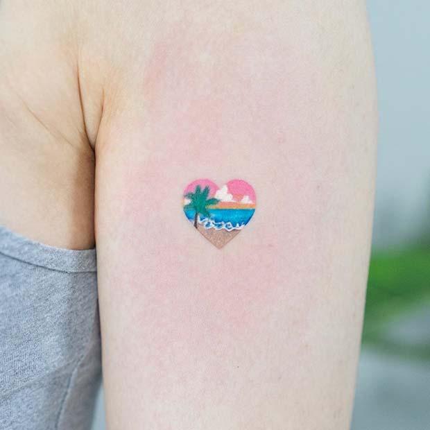 Cute Small Beach Heart Tattoo Design