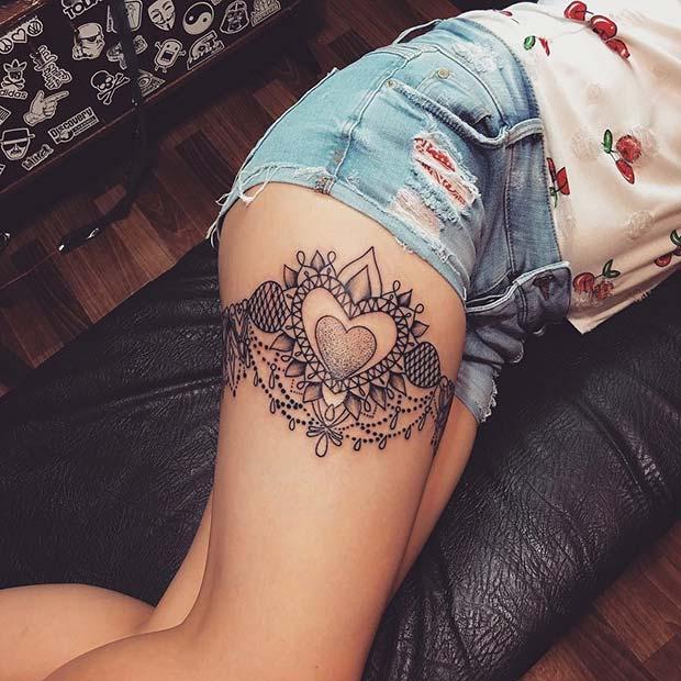 Big Heart Garter Tattoo Idea
