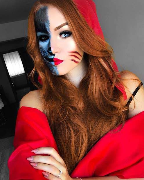 Half Wolf, Half Red Riding Hood Halloween Makeup