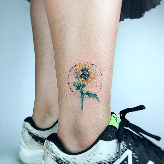 Pretty Sunflower and Circle Tattoo