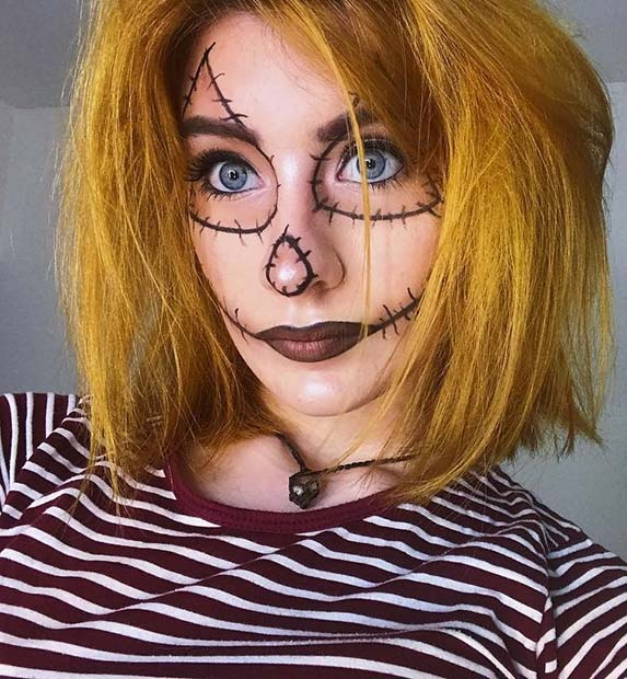 Easy Scarecrow Makeup for Halloween