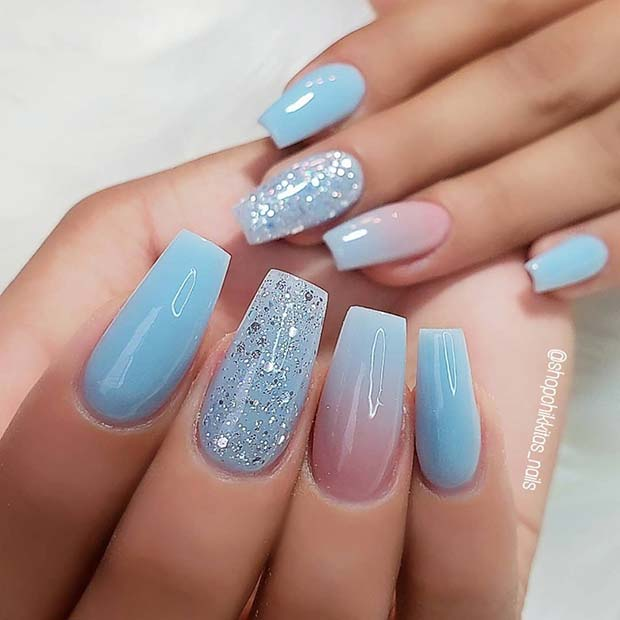 Beautiful Light Blue Coffin Nails