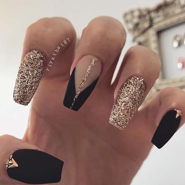 Gold Glitter and Matte Black Coffin Nails