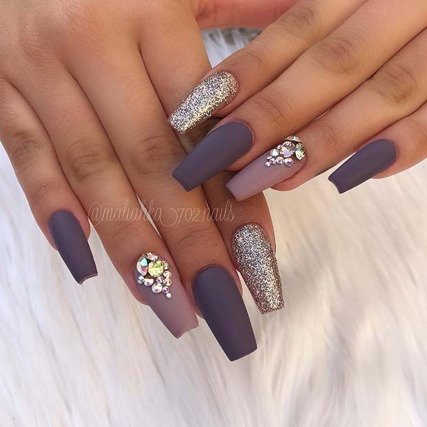 Matte Grey Coffin Nails with Rhinestones and Glitter