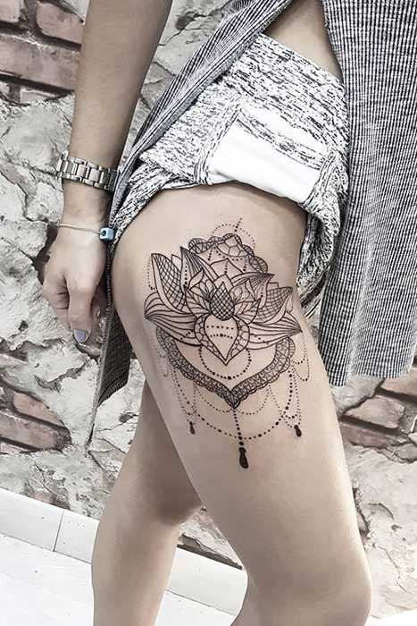Lotus Flower Thigh Tattoo