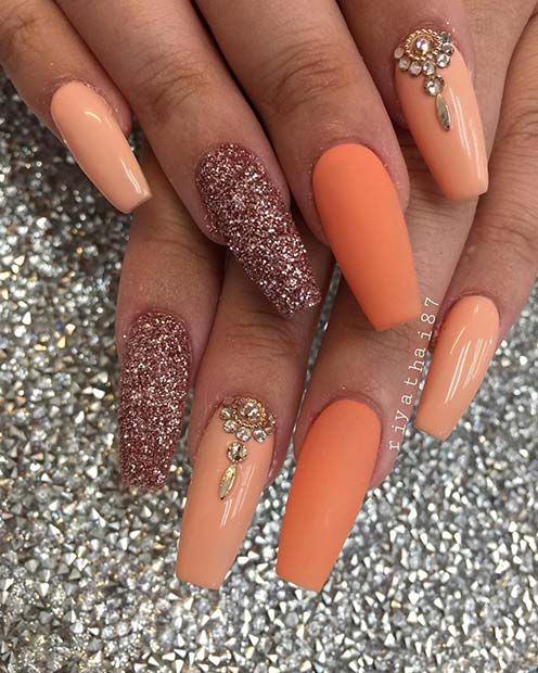 Matte Orange and Glitter Coffin Nails