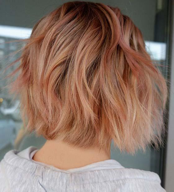 Short Peachy Hair Color Idea