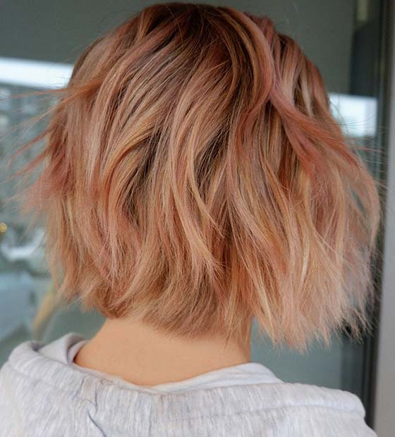 Short Peachy Hair Color Idea