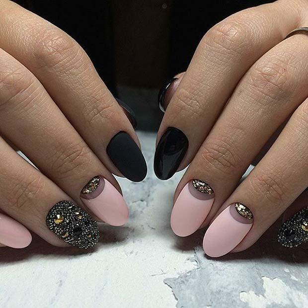 Pink and Black Glitter Nail Art Idea