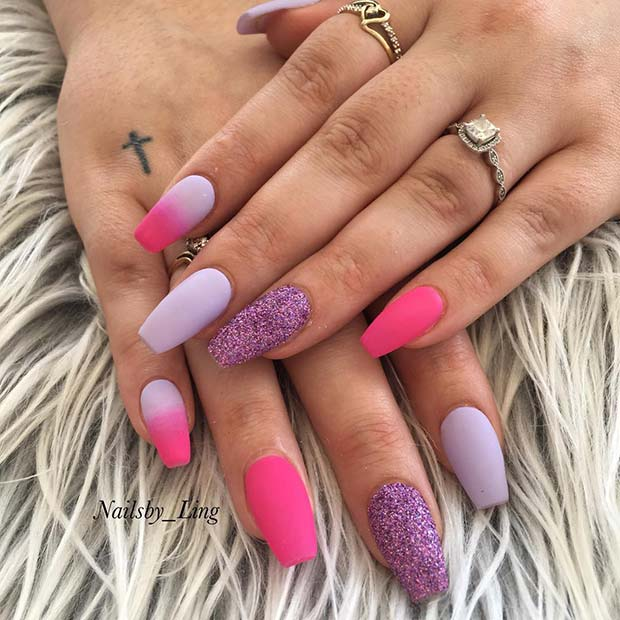 Matte, Purple and Pink Coffin Nails