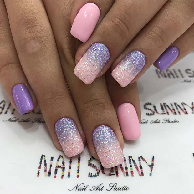 Pretty Pink and Purple Ombre Nails