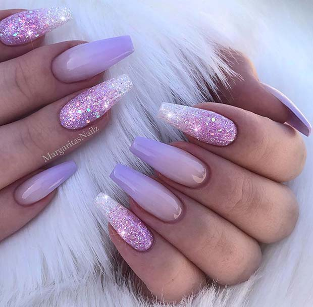 Purple Ombre and Glitter Coffin Nails