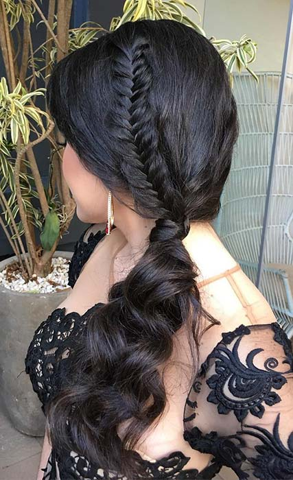 Curly, Side Ponytail with a Fishtail Braid