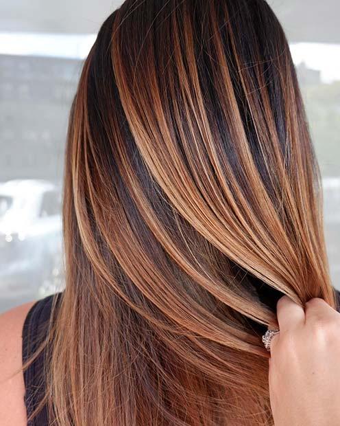 Strawberry Blonde Highlights for Dark Hair