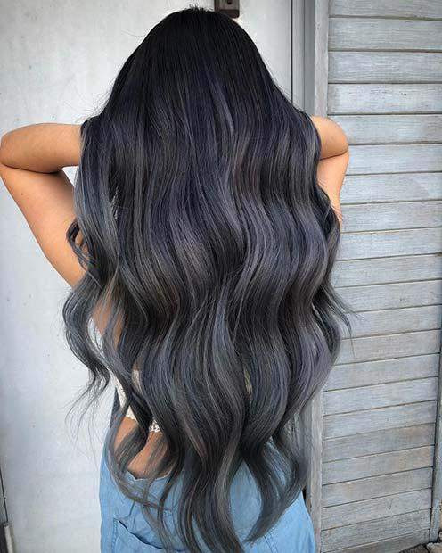 Trendy Dark Grey Ombre Hair