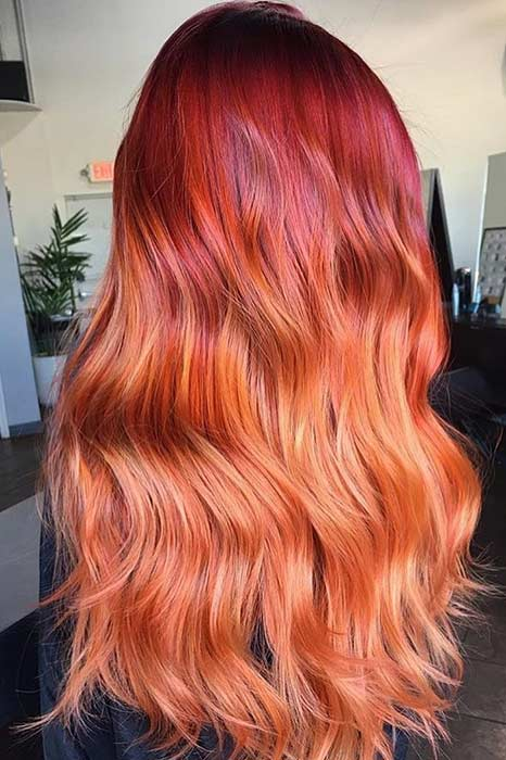 Vibrant Red to Copper Ombre Hair