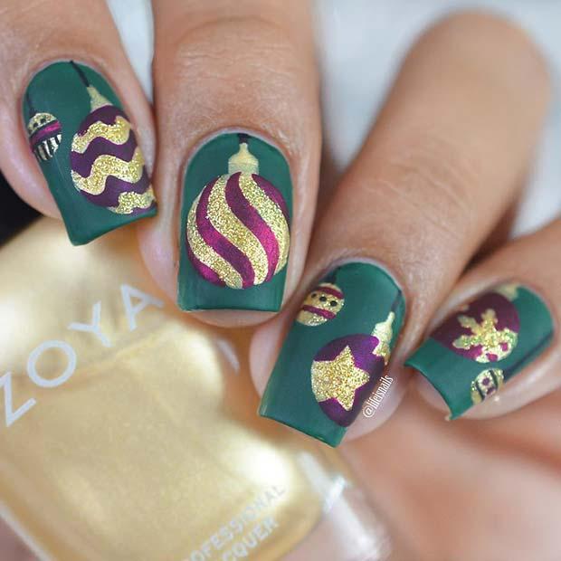 Christmas Baubles Holiday Nails