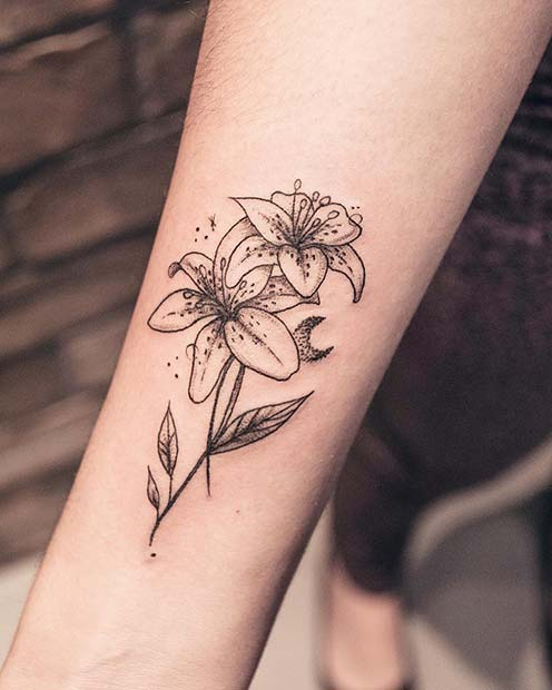 Double Lilies Flower Tattoo