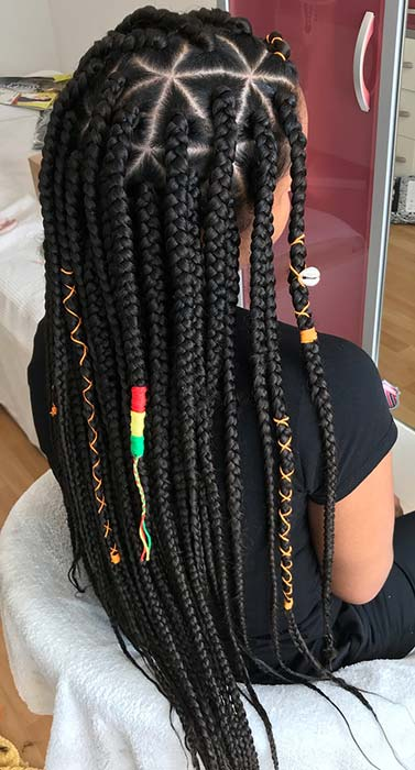 Long, Accessorized Triangle Braids