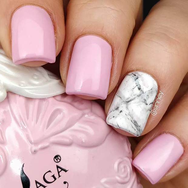 Pink Nails with a Marble Accent Nail