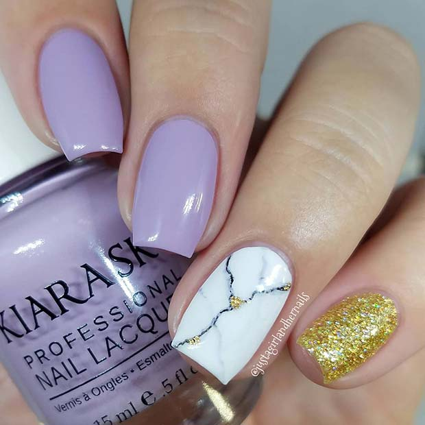 Purple, Marble and Glitter Nails