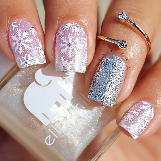 Glam Holiday Nails with Snowflakes