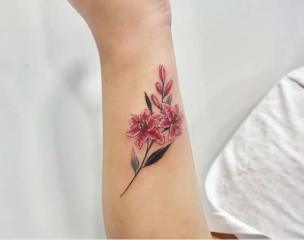 Vibrant Lilies Arm Tattoo
