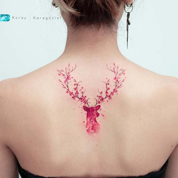 Cherry Blossom Deer Black Tattoo