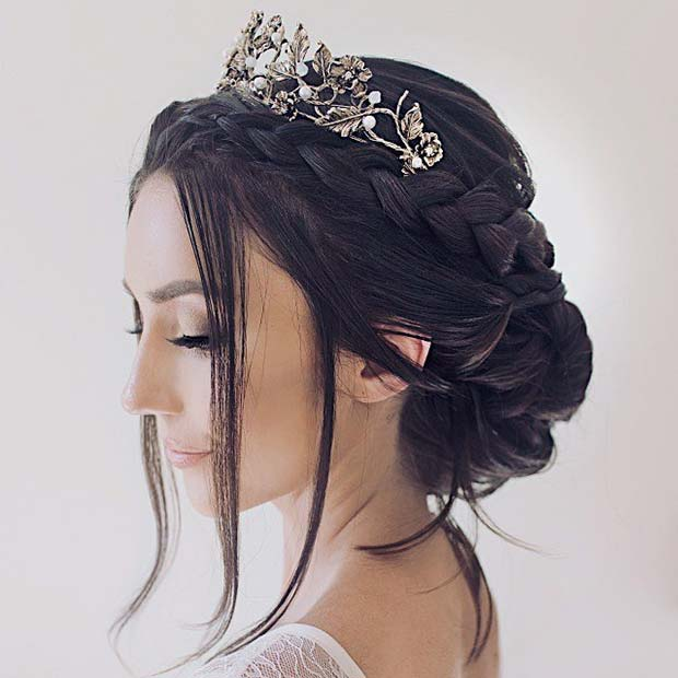 Braided Updo with a Tiara for Brides