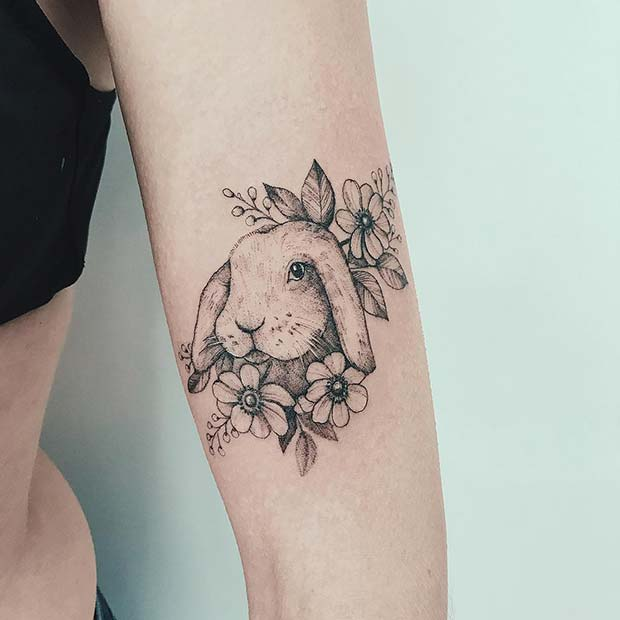 Cute Bunny Tattoo Design for Girls