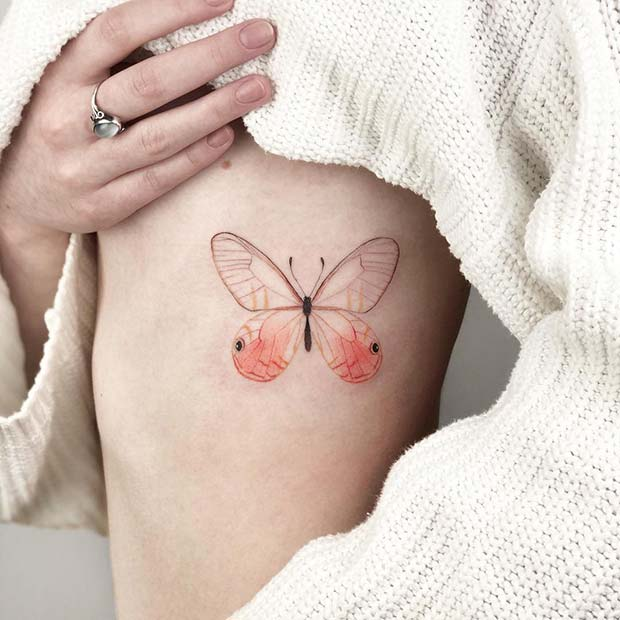 Delicate Butterfly Rib Tattoo Idea for Girls
