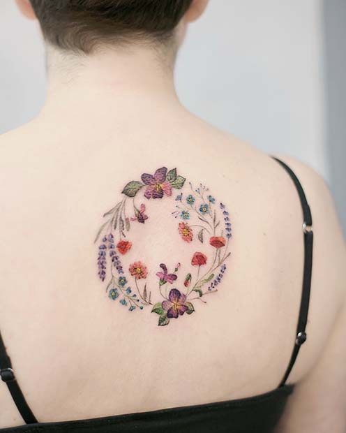 Floral Back Tattoo Idea for Girls