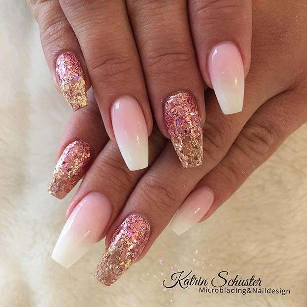 French and Glitter Ombre Nails