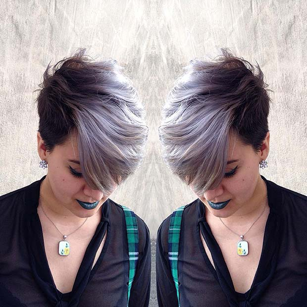 Icy Grey Short Ombre Hair