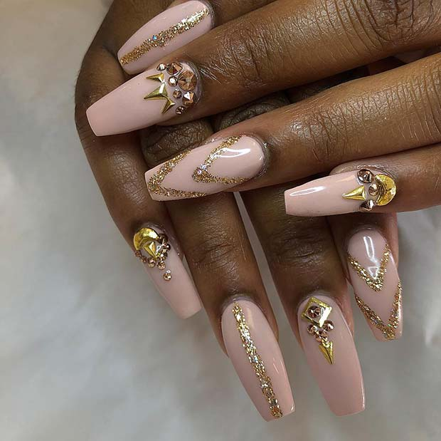 Nude and Gold Coffin Nails