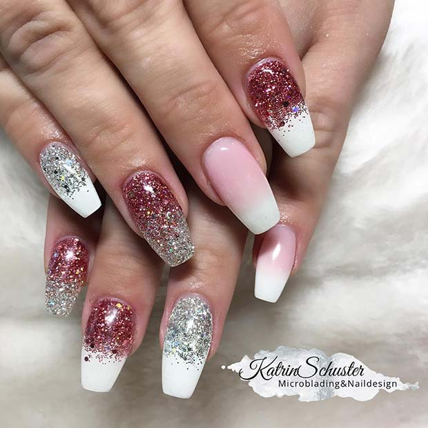 Glitter and French Ombre Nails