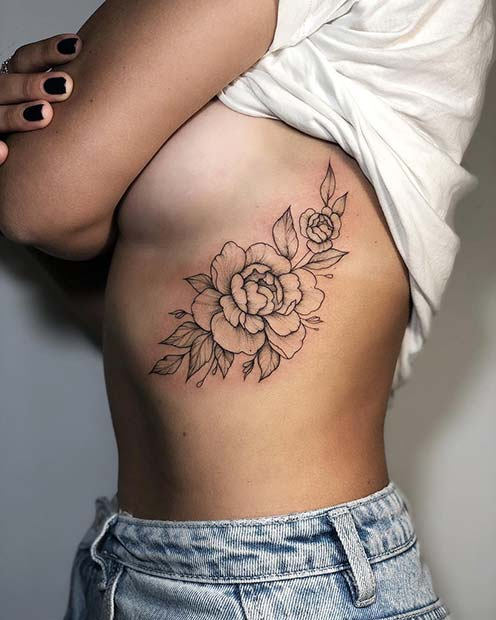 Peony Rib Tattoo Idea for Girls