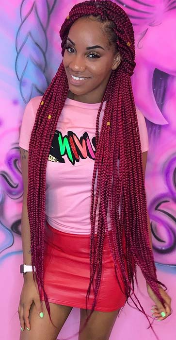 Long Box Braids in Red Shade
