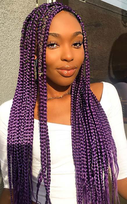 Long Box Braids in Purple