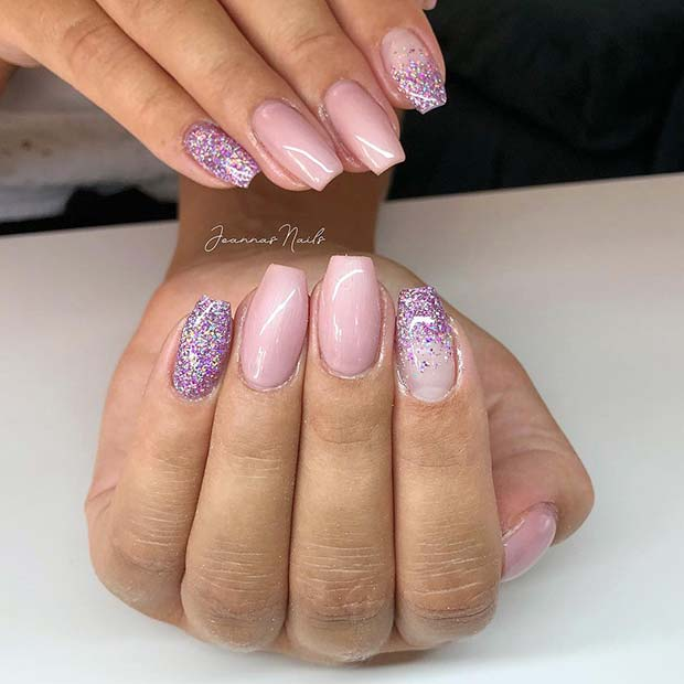 Sparkly Nude Coffin Nails