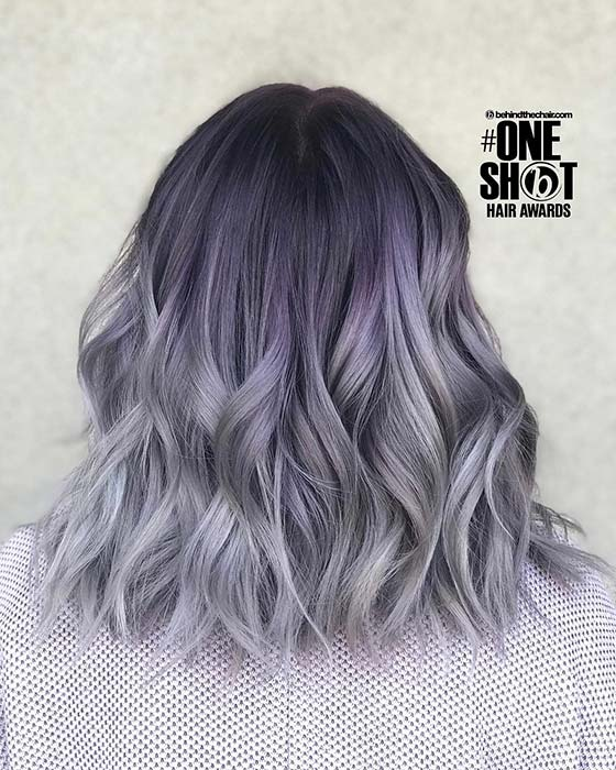 Stylish, Purple to Grey Ombre Bob