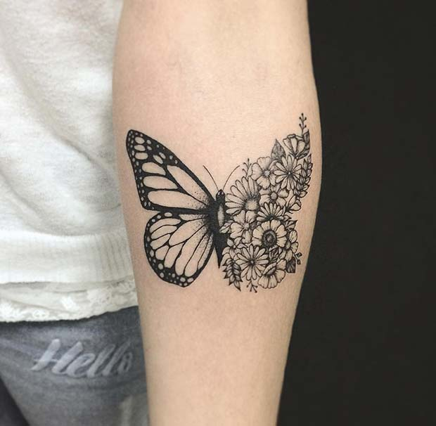 Unique Floral Butterfly Tattoo Design
