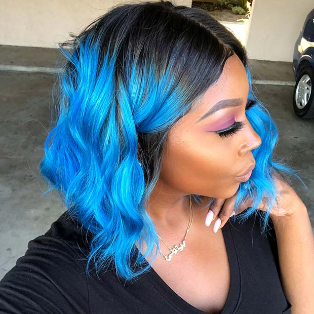 Vibrant Blue Ombre Bob for Black Women