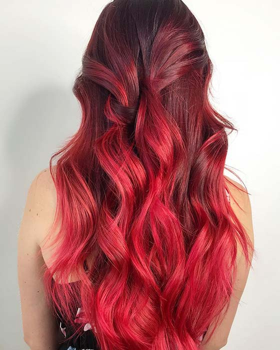 Dark Red to Bright Red Ombre Hair