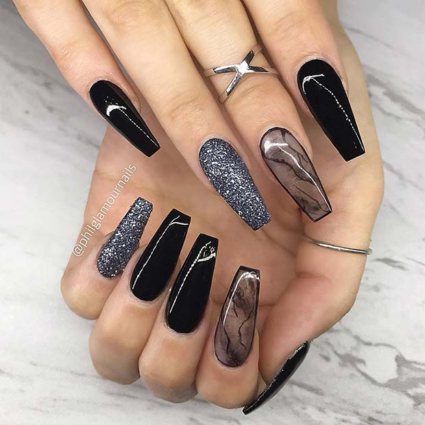21 Bold and Edgy Black Coffin Nails - crazyforus