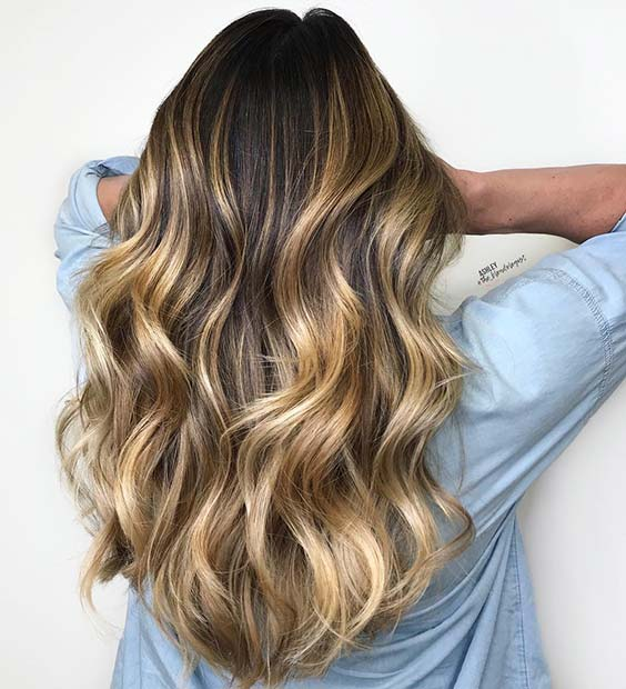 Black Hair with Golden Blonde Highlights