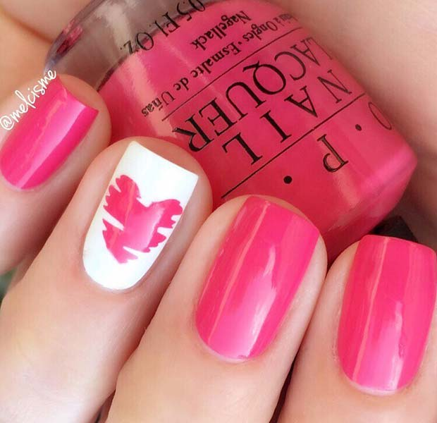 Pink and White Nail Design for Short Nails