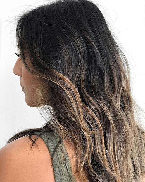 Black Hair with Caramel Blonde Highlights