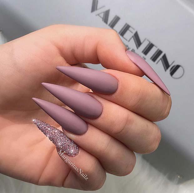 Chic Matte Stiletto Nails